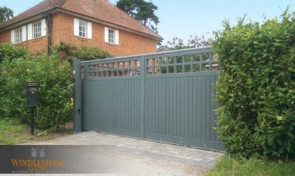 Sliding Automatic Timber Gate with Post Box
